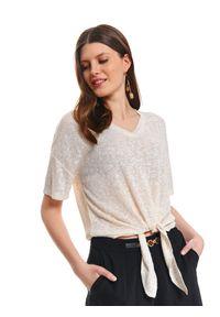 Beżowa bluzka TOP SECRET z krótkim rękawem, krótka, w kolorowe wzory, z dekoltem w serek
