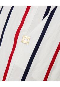 Manila Grace - MANILA GRACE - Białe spodnie w paski. Okazja: do pracy, na spacer. Stan: podwyższony. Kolor: biały. Materiał: tkanina, wiskoza, materiał. Wzór: paski. Sezon: lato