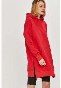 Czerwona bluza Answear Lab z kapturem, gładkie