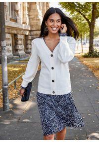 Sweter rozpinany z rękawami balonowymi bonprix biel wełny. Typ kołnierza: dekolt w serek. Kolor: biały. Materiał: wełna #2