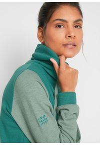 Bluza z bawełny organicznej, długi rękaw bonprix dymny szmaragdowy - dymny zielony melanż. Kolor: niebieski. Materiał: bawełna. Długość rękawa: długi rękaw. Długość: długie. Wzór: melanż