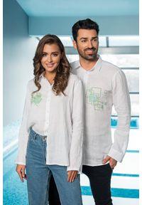 Biała koszula VEVA w geometryczne wzory, długa, na lato