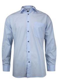 Niebieska elegancka koszula Jurel z klasycznym kołnierzykiem, z aplikacjami, do pracy, z długim rękawem