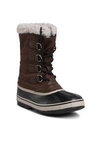 Brązowe buty zimowe sorel z cholewką, na co dzień, casualowe
