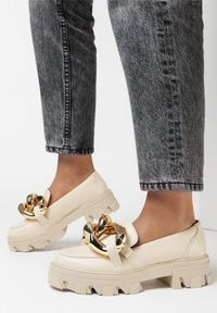 Born2be - Beżowe Mokasyny Laurette. Kolor: beżowy. Materiał: jeans. Obcas: na obcasie. Wysokość obcasa: średni