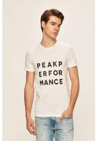 Biały t-shirt Peak Performance na co dzień, z nadrukiem