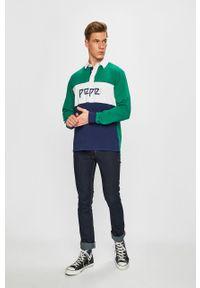 Niebieska koszulka z długim rękawem Pepe Jeans krótka, casualowa, na co dzień