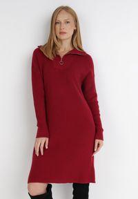 Born2be - Bordowa Sukienka Iomene. Typ kołnierza: golf. Kolor: czerwony. Materiał: dzianina. Długość rękawa: długi rękaw. Wzór: jednolity. Długość: mini