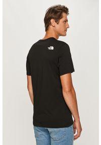 Czarny t-shirt The North Face z okrągłym kołnierzem, z nadrukiem, casualowy, na co dzień