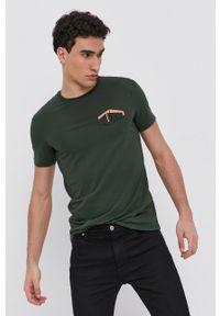 Armani Exchange - T-shirt. Kolor: zielony. Materiał: dzianina. Wzór: nadruk
