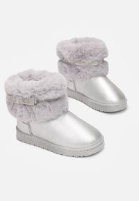 Born2be - Srebrne Śniegowce Berinlyss. Nosek buta: okrągły. Zapięcie: pasek. Kolor: srebrny. Materiał: futro, guma. Szerokość cholewki: normalna. Wzór: aplikacja