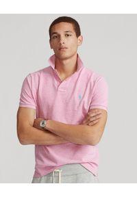 Ralph Lauren - RALPH LAUREN - Różowa koszulka polo Luxe Knit Custom Slim Fit. Typ kołnierza: polo. Kolor: różowy, wielokolorowy, fioletowy. Materiał: bawełna, prążkowany. Wzór: haft. Styl: klasyczny
