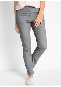 Spodnie ze stretchem Slim Fit bonprix szary. Kolor: szary. Materiał: bawełna #7
