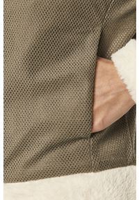 Kremowa bluza rozpinana columbia bez kaptura, casualowa, na co dzień