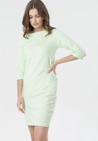 Born2be - Limonkowa Sukienka Eleynard. Materiał: dzianina. Wzór: jednolity, gładki. Typ sukienki: proste, dopasowane. Styl: klasyczny. Długość: mini