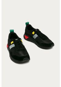 Czarne sneakersy Diesel na sznurówki, z okrągłym noskiem, z cholewką