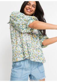 Bluzka zakładana przez głowę, z wiązanymi troczkami bonprix zielony w kwiaty. Kolor: zielony. Wzór: kwiaty