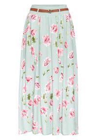 Niebieska spódnica bonprix w kwiaty, długa
