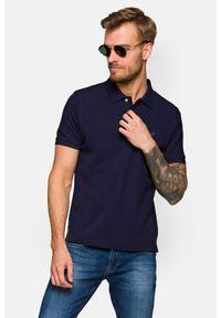 Lancerto - Koszulka Granatowa Polo Patrick. Typ kołnierza: polo. Kolor: niebieski. Materiał: włókno, tkanina, materiał, bawełna. Wzór: ze splotem, gładki. Styl: klasyczny