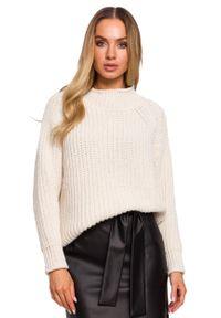 MOE - Klasyczny Sweter z Półgolfem - Beżowy. Kolor: beżowy. Materiał: poliamid, akryl. Styl: klasyczny