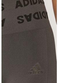 Szare legginsy adidas Performance z podwyższonym stanem, z nadrukiem