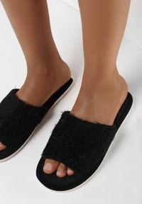 Born2be - Czarne Kapcie Ismonia. Okazja: do domu. Nosek buta: okrągły. Zapięcie: bez zapięcia. Kolor: czarny. Materiał: materiał, guma. Wzór: aplikacja