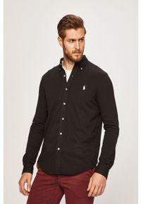 Polo Ralph Lauren - Koszula. Typ kołnierza: polo. Kolor: czarny. Materiał: dzianina