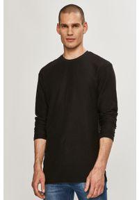 Czarna koszulka z długim rękawem na co dzień, gładkie
