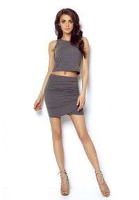 IVON - Grafitowa Dopasowana Mini Spódnica z Kopertowym Założeniem. Kolor: szary. Materiał: elastan, bawełna