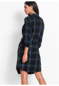 Sukienka szmizjerka z przewiązaniem bonprix czarny w kratę. Kolor: czarny. Typ sukienki: szmizjerki