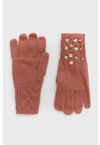 TwinSet - Twinset - Rękawiczki. Kolor: różowy. Materiał: dzianina