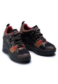 Liu Jo - Sneakersy LIU JO - Karlie Revolution 26 BF0095 EX066 Black/Brown S1033. Okazja: na co dzień. Kolor: wielokolorowy, czarny, brązowy. Materiał: skóra ekologiczna, materiał. Szerokość cholewki: normalna. Obcas: na koturnie. Styl: casual. Wysokość obcasa: średni