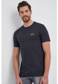 BOSS - Boss - T-shirt bawełniany Boss Athleisure. Okazja: na co dzień. Kolor: niebieski. Materiał: bawełna. Wzór: nadruk. Styl: casual