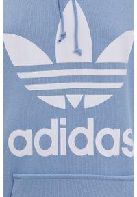 adidas Originals - Bluza bawełniana. Kolor: niebieski. Materiał: bawełna. Długość rękawa: długi rękaw. Długość: długie. Wzór: nadruk