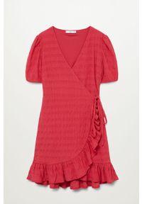 Czerwona sukienka mango z krótkim rękawem, na co dzień, mini
