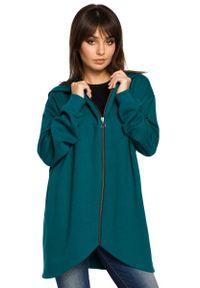 MOE - Zielona Bluza Asymetryczna z Kapturem. Typ kołnierza: kaptur. Kolor: zielony. Materiał: bawełna, wiskoza, poliester
