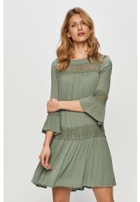 only - Only - Sukienka. Okazja: na co dzień. Kolor: zielony. Materiał: koronka. Typ sukienki: proste. Styl: casual