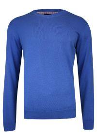 Niebieski sweter Adriano Guinari z klasycznym kołnierzykiem, klasyczny