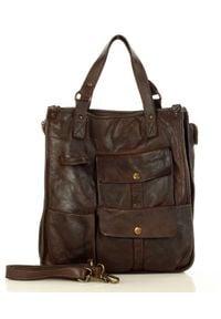 Marco Mazzini handmade - MARCO MAZZINI Brąz Caffe Torebka Skóra Naturalna Shopper Safari Handmade Bag. Kolor: brązowy. Materiał: skórzane