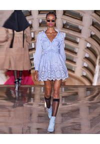 SELF PORTRAIT - Niebieska sukienka mini. Okazja: na wesele, na ślub cywilny. Kolor: niebieski. Materiał: koronka. Długość rękawa: długi rękaw. Wzór: haft, koronka, aplikacja. Długość: mini