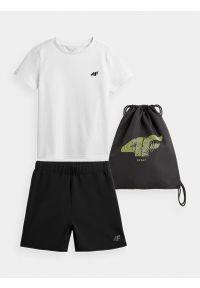 4f - Komplet sportowy chłopięcy. Kolor: wielokolorowy. Materiał: bawełna, dzianina, materiał. Wzór: nadruk. Styl: sportowy