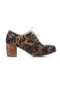 Zapato - sznurowane półbuty na 6 cm słupku - skóra naturalna - model 251 - kolor złota mozaika. Kolor: złoty. Materiał: skóra. Obcas: na słupku