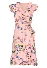 Różowa sukienka bonprix kopertowa, bez rękawów