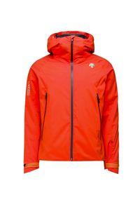 Pomarańczowa kurtka narciarska Descente na zimę, z nadrukiem