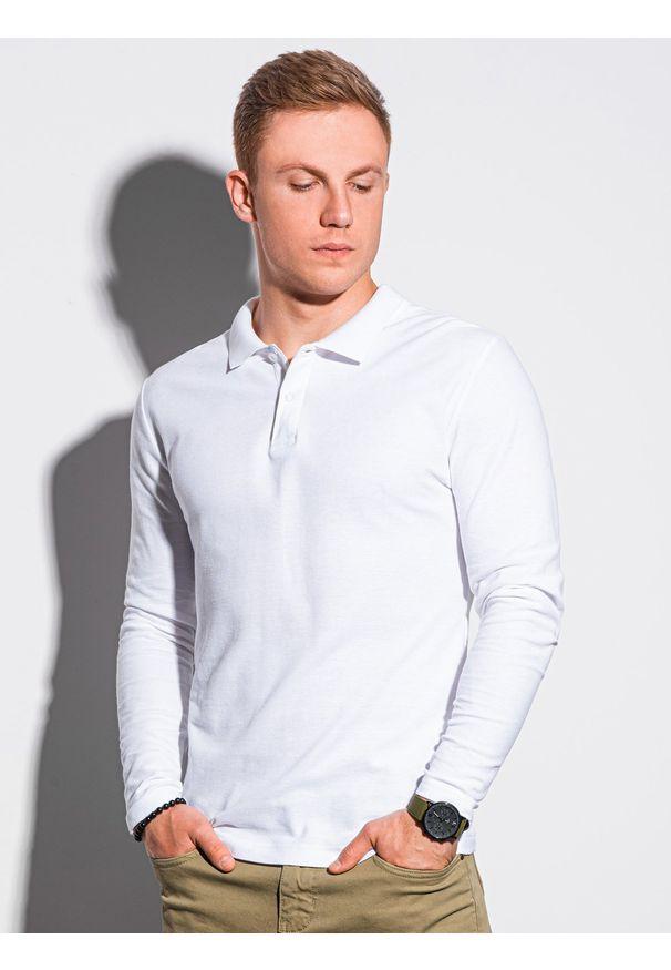 Ombre Clothing - Longsleeve męski bez nadruku L132 - biały - XXL. Typ kołnierza: polo. Kolor: biały. Materiał: bawełna, materiał, jeans. Długość rękawa: długi rękaw. Wzór: ze splotem