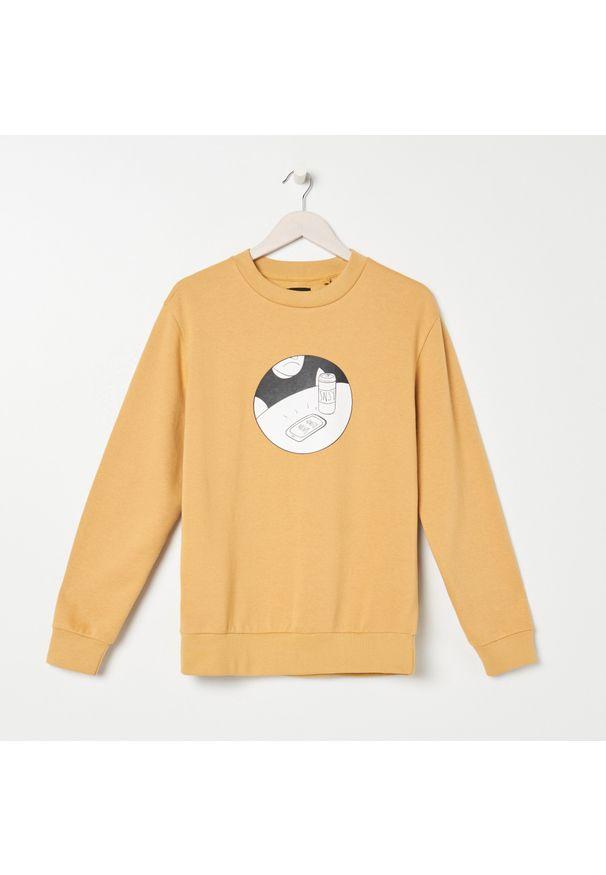 Beżowa bluza Sinsay z nadrukiem