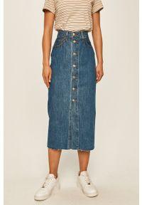 Levi's® - Levi's - Spódnica jeansowa. Okazja: na spotkanie biznesowe. Stan: podwyższony. Kolor: niebieski. Materiał: jeans. Styl: biznesowy