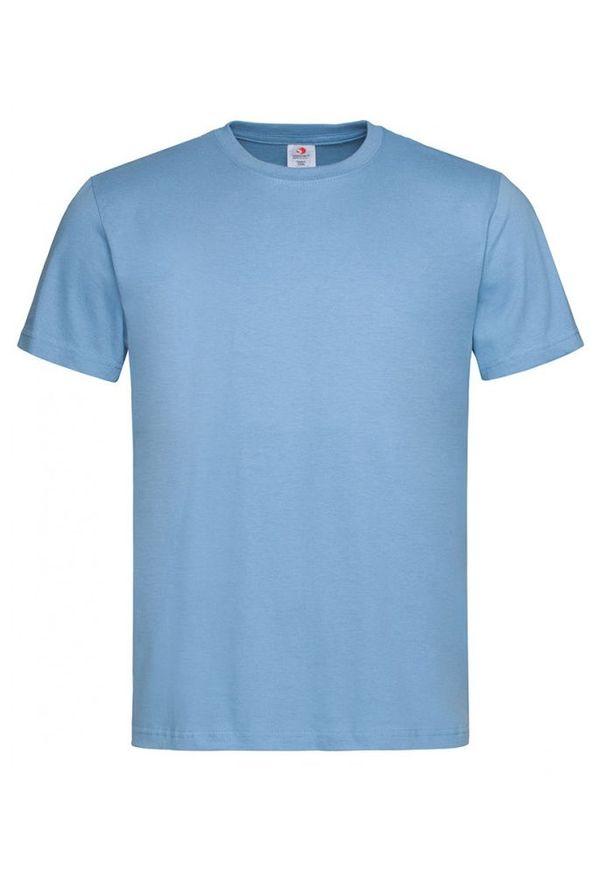 Niebieski t-shirt Stedman krótki, z krótkim rękawem, na co dzień, casualowy