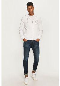 Biała bluza rozpinana Armani Exchange z kapturem, z nadrukiem