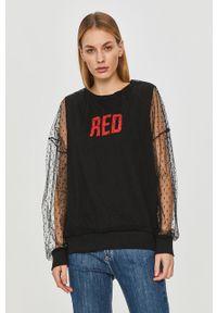 Czarna bluza Red Valentino bez kaptura, na co dzień, z nadrukiem, długa